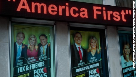 NEW YORK, NY - FEBRUARY 17: At left, an advertisement for 'Fox And Friends' is displayed outside of the Fox News studio, February 17, 2017 in New York City. President Trump, a frequent consumer and critic of cable news, recently tweeted that Fox and Friends is 'great'. (Photo by Drew Angerer/Getty Images)