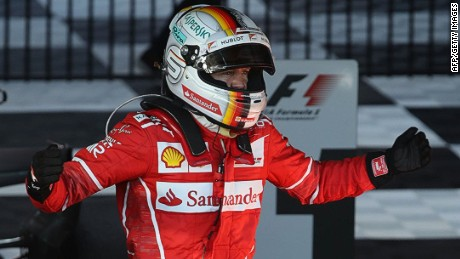 MELBOURNE, AUSTRALIA - MARCH 26:  Sebastian Vettel of Germany and Ferrari celebrates his win in parc ferme during the Australian Formula One Grand Prix at Albert Park on March 26, 2017 in Melbourne, Australia.  (Photo by Robert Cianflone/Getty Images)