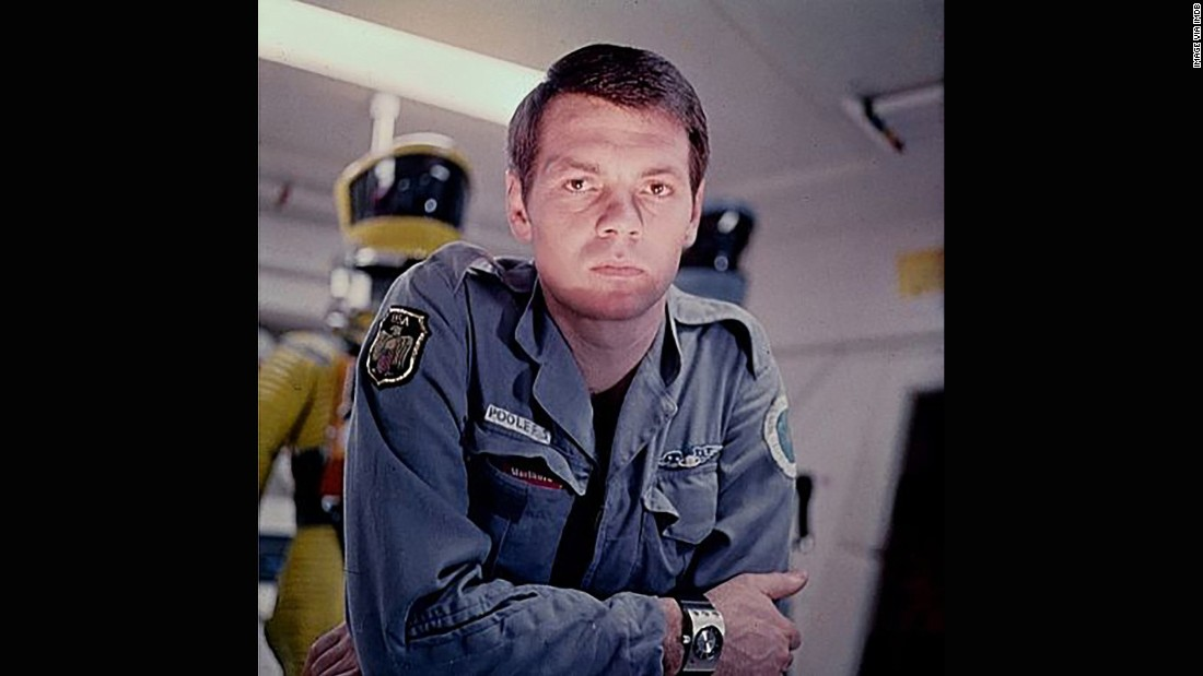 "Gary Lockwood as astronaut Frank Poole in ""2001: A Space Odyssey."" The brand Hamilton was commissioned to come up with the watch design for the film, sticking to an analogue watch face despite the film's futuristic aesthetic."