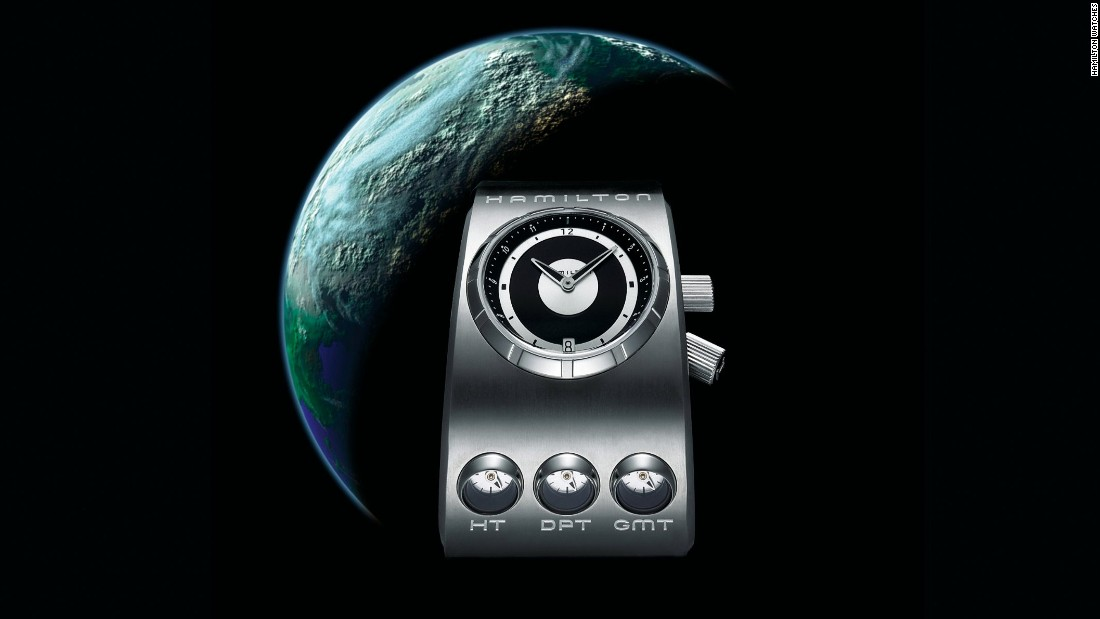 "In 2006 Hamilton released a limited edition reinterpretation of the original watch from ""2001: Space Odyssey."" The three dials underneath the main watch face represent Home Time, Dream TIme and GMT. Another limited edition, the X-02, appeared in 2009."