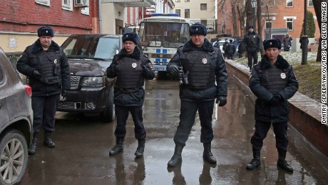 Police outside the court ahead of Navalny's appearance.