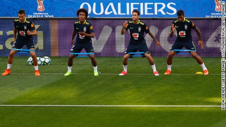 SAO PAULO, BRAZIL - MARCH 26: (L-R) Marquinhos, Willian, Neymar and Paulinho of Brazil in action during a training session at Arena Corinthians on March 26, 2017 in Sao Paulo, Brazil. (Photo by Buda Mendes/Getty Images)