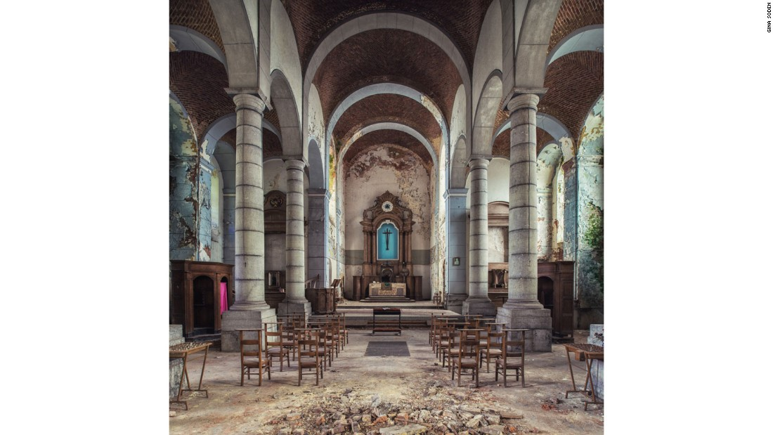 """I like the fact they're hidden spaces that not many people know about,"" she says. This abandoned church, in a small Belgian town was particularly difficult to get to -- Soden had to crawl through a shattered glass window."