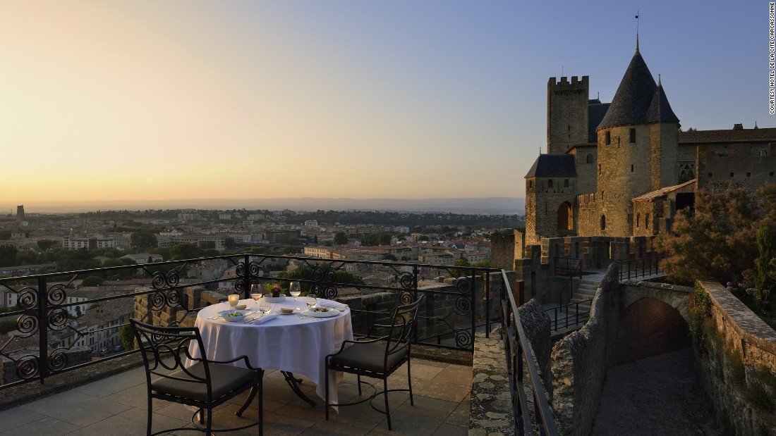 <strong>Hôtel de la Cité</strong> -- This 1909 hotel sits inside the walls of the medieval fortified city of Carcassonne in southern France. Though not a castle itself, the hotel provides an immersive fortress experience.