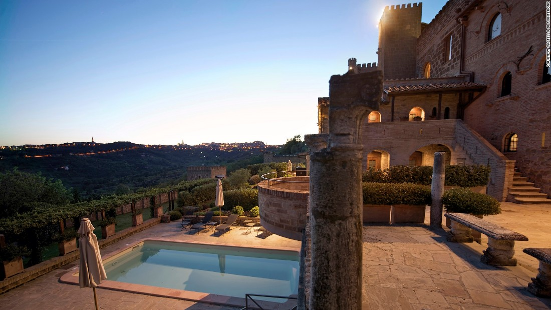 <strong>Castello di Monterone</strong> -- The 11th-century venue and its beautiful outdoor swimming pool overlook the lush valley of Perugia, Italy.