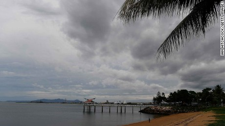 TOWNSVILLE, AUSTRALIA - MARCH 27:  Seen is a general view of grey clouds over one of the Strand beaches with its jetty as residents prepare for Cyclone Debbie on March 27, 2017 in Townsville, Australia. Cyclone Debbie intensified to a category 3 system this morning and is expected to make landfall near Bowen, QLD as a category 4 system tomorrow morning.  (Photo by Ian Hitchcock/Getty Images)