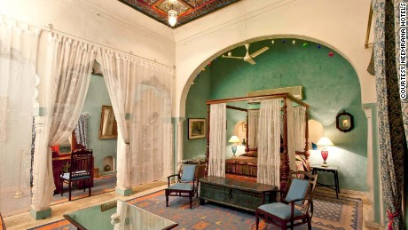 Neemrana Fort-Palace boasts luxurious rooms, two pools and an Ayurvedic spa.