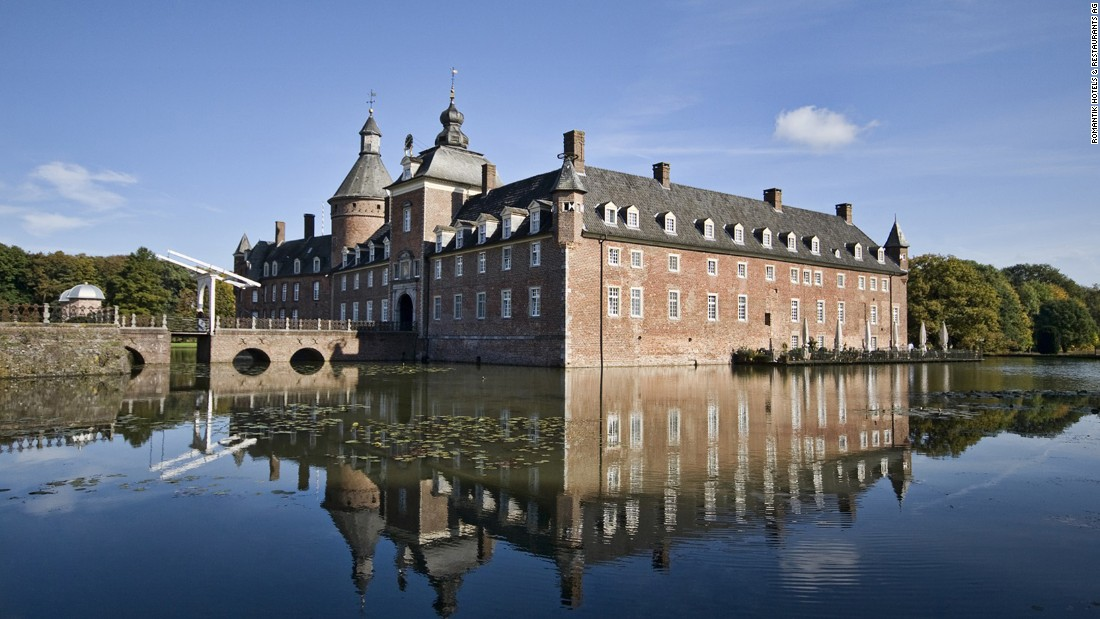 <strong>Parkhotel Wasserburg Anholt -</strong>- A 12th-century castle in Isselburg, Germany, Parkhotel Wasserburg Anholt has a moat and drawbridge.