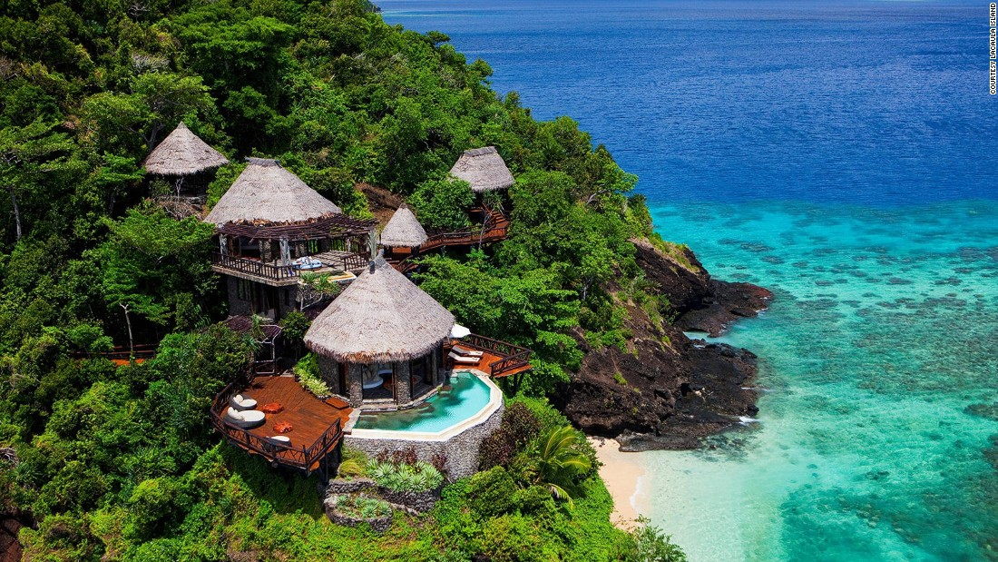 <strong>Laucala Island (Fiji): </strong>Beautiful is an understatement for this 3,500-acre private island resort. Each of the 25 Fijian bure-inspired villas is equipped with tropical gardens and infinity pools.<strong> </strong>