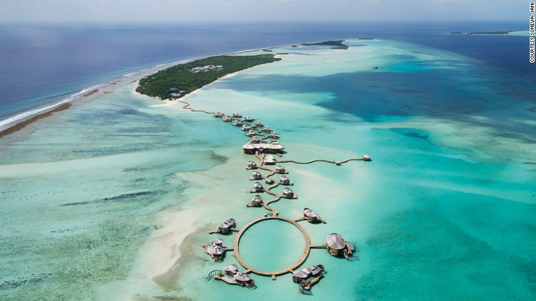 <strong>Soneva Jani (Maldives): </strong>One of the world's most beautiful hotels, Soneva Jani features over-water villas with retractable roof, slides to transport guests to the lagoon, an observatory and an outdoor floating cinema.