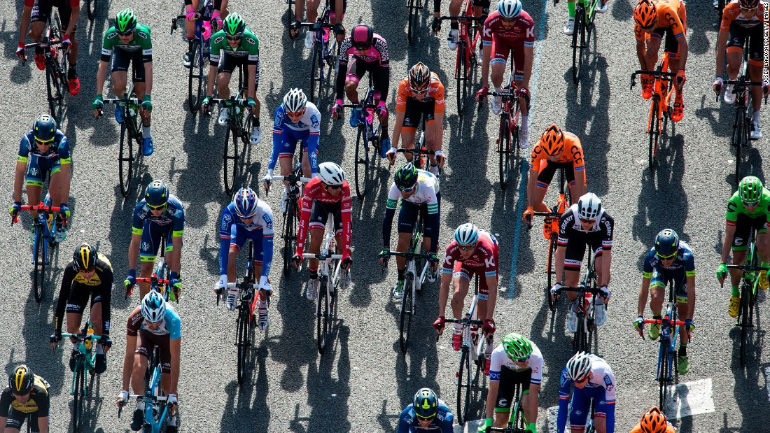Riders compete during the 97th Volta Catalunya race in Barcelona on Sunday, March 26.