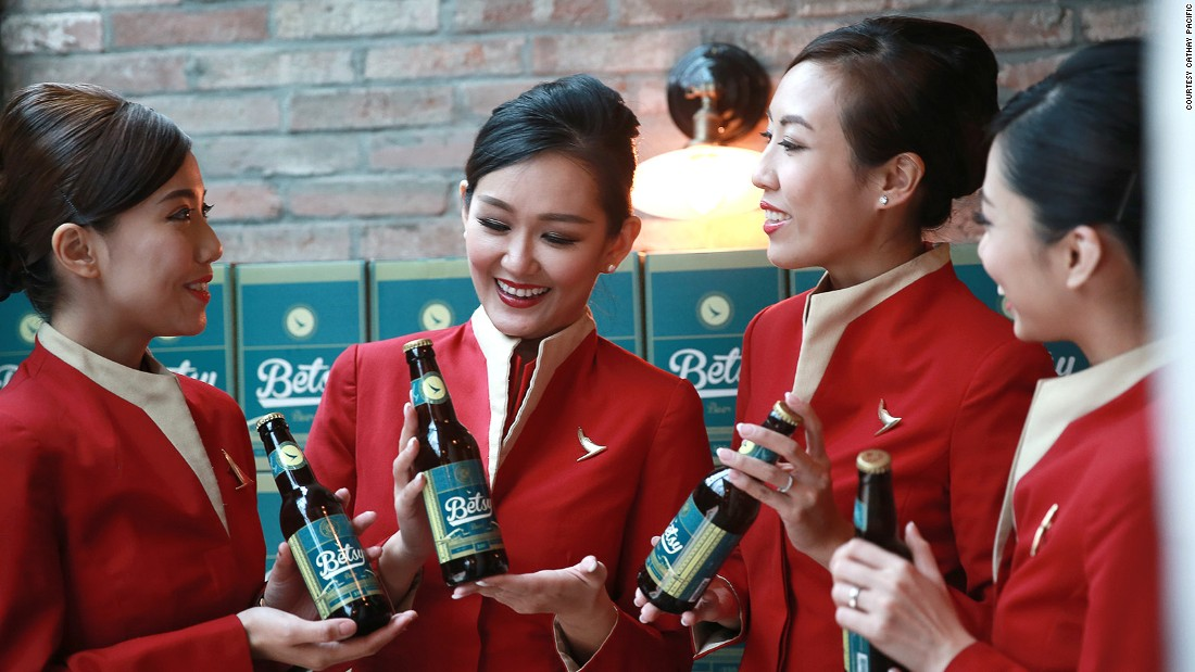 <strong>Cathay Pacific's Betsy Beer: </strong>Named after the airline's first plane -- a 1940s Douglas DC-3 -- Betsy is an unfiltered wheat-based beer made with pilsner, featuring Hong Kong honey, longan fruit and English Fuggle hops.