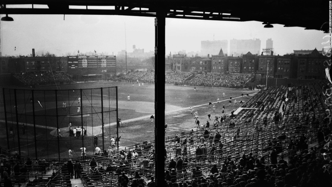 Wrigley Field in Chicago, which opened in 1914, is the only other stadium from the jewel-box era that is still in use. This is a view from the grandstands in 1927.