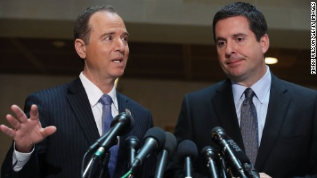 WASHINGTON, DC - MARCH 15: House Intelligence Committee Chairman Devin Nunes (R-CA) (R), and ranking member Rep. Adam Schiff (D-CA) speak to the media about Committee's investigation into Russian interference in the U.S. presidential election, at the U.S. Capitol on March 15, 2017 in Washington, DC.   (Photo by Mark Wilson/Getty Images)