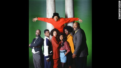 THE FRESH PRINCE OF BEL-AIR -- Season 2 -- Pictured: (Front, l-r) Joseph Marcell as Geoffrey, Alfonso Ribeiro as Carlton Banks, Karyn Parsons as Hilary Banks, Tatyana Ali as Ashley Banks, Janet Hubert as Vivian Banks, James Avery as Philip Banks -- Photo by: Paul Drinkwater/NBCU Photo Bank