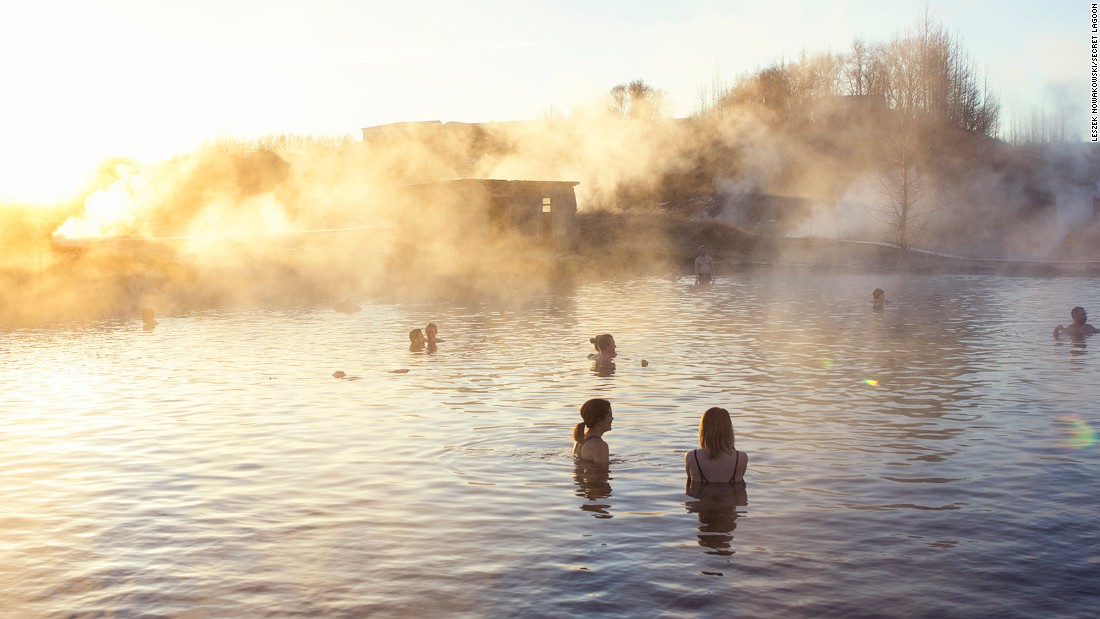 <strong>Secret Lagoon: </strong>Built over natural hot springs in the small village of Fludir, the Secret Lagoon remains at a steady 38-40 C throughout the year. There's even a small geyser that erupts every five minutes.