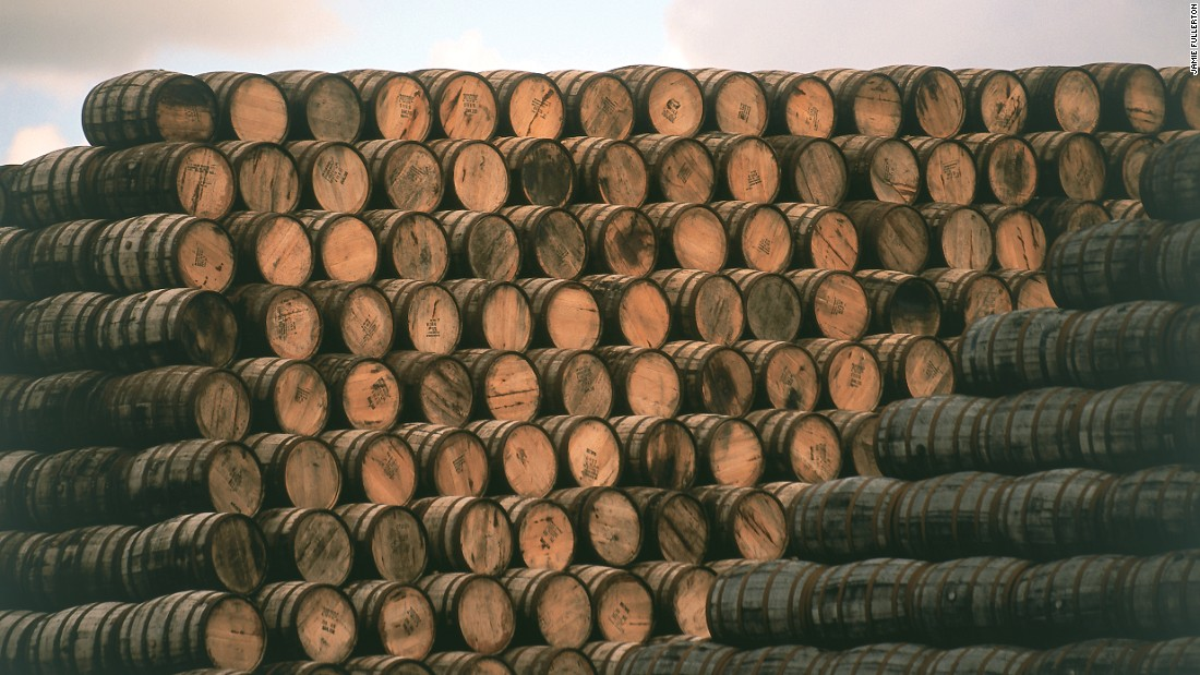 Whiskey barrels hold the spirit for a number of years to mature it, with the liquid extracting flavor from the wood.
