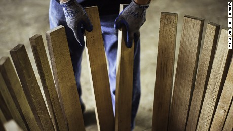 American white oak is the most commonly used wood to make staves: long sections of wood that make up the main part of the barrel