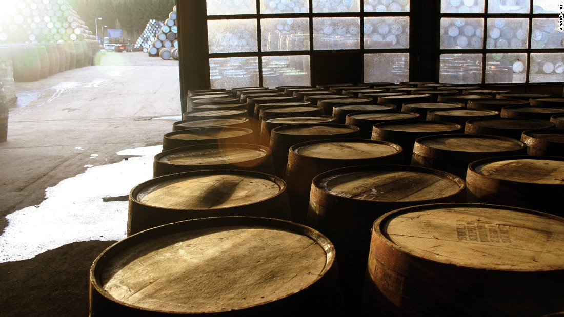 Whiskey barrels house the spirit for a number of years to allow the drink to mature before it is bottled.<br />
