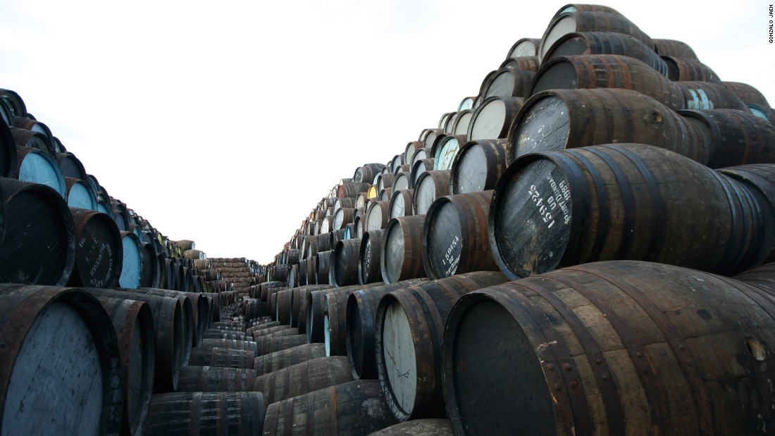 Barrels at a cooperage in Speyside, Scotland.<br />