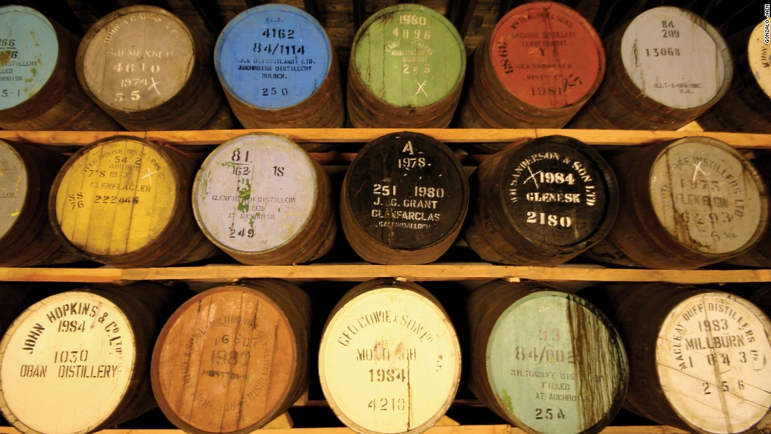 These barrels are storing whiskey in the Knockando distillery in Scotland.<br />