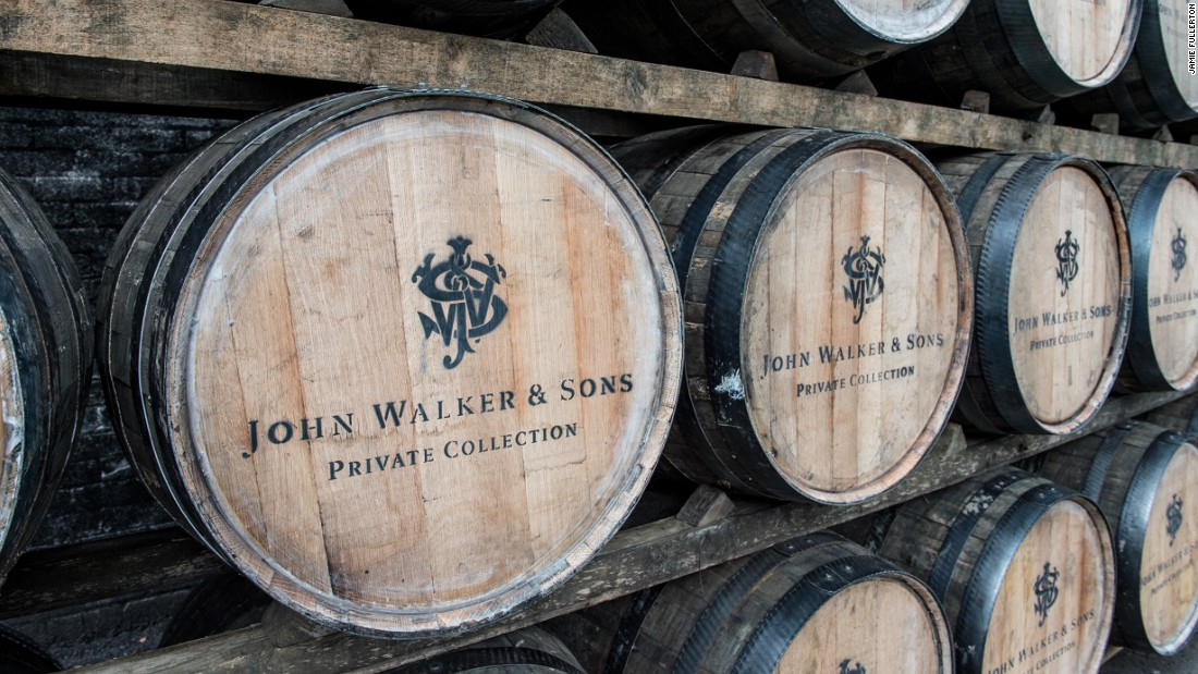 Scotch whiskey makers such as Johnnie Walker import used whiskey barrels from the US to repurpose in Scotland.<br />