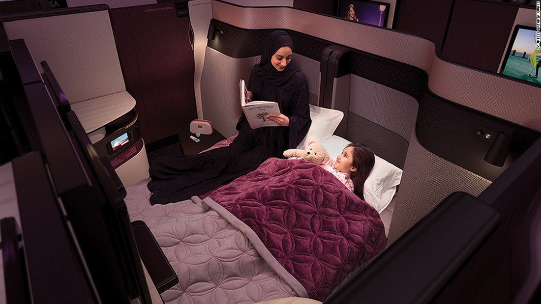 <strong>Bedtime: </strong>QSuite's customizable seats can be converted into a single bed or -- with all panels removed -- a double bed.
