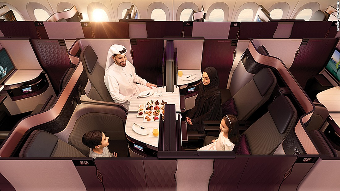 <strong>Qatar Airways' QSuite: </strong>More airlines are introducing cabin designs that allow for increased flexibility with seating arrangements.
