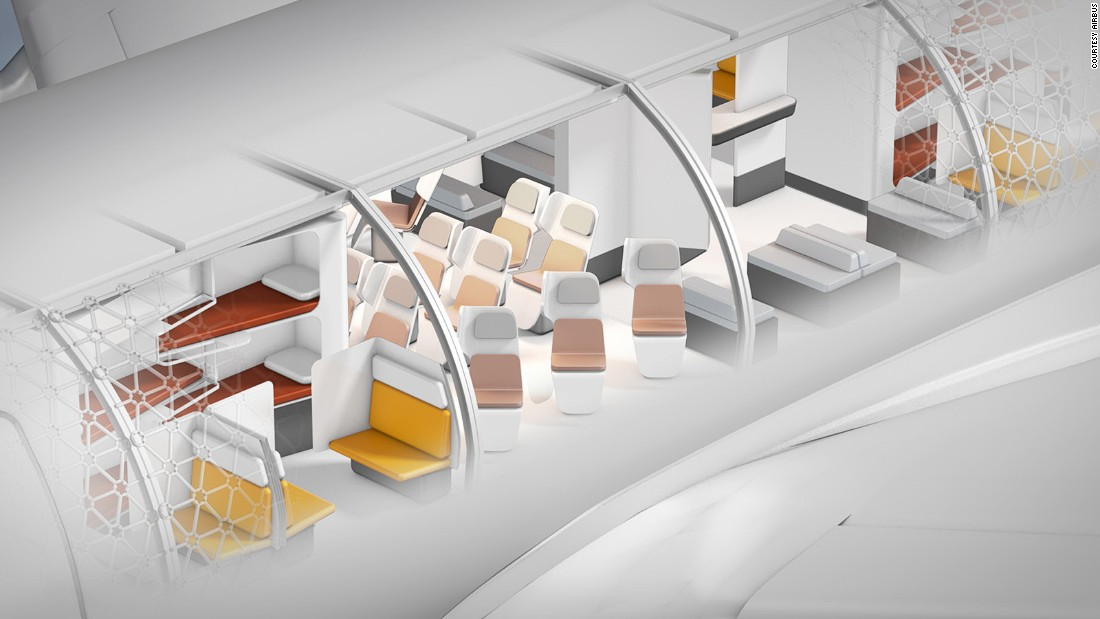 <strong>Airbus's Transpose: </strong>Airbus' Transpose airliner concept employs a modular design which would allow airlines to customize their planes cabin by cabin.