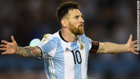 Argentina's Lionel Messi celebrates after scoring the winner against Chile