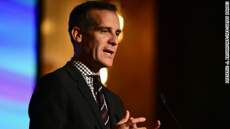 Los Angeles Mayor Eric Garcetti addresses the audience at the EMA Impact Summit in Beverly Hills, California on March 23, 2017.  / AFP PHOTO / Frederic J. Brown        (Photo credit should read FREDERIC J. BROWN/AFP/Getty Images)