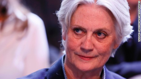 "Penelope Fillon, the wife of French presidential election candidate for the right-wing Les Republicains (LR) party attends the political TV show ""L'emission politique"", on March 23, 2017 on a set of French TV France 2 in Paris. / AFP PHOTO / Thomas SAMSON        (Photo credit should read THOMAS SAMSON/AFP/Getty Images)"