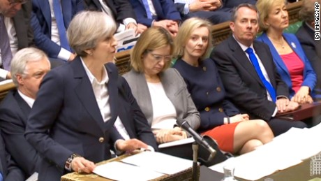 Prime Minister Theresa May announces in the House of Commons, London, that she has triggered Article 50, starting a two-year countdown to the UK leaving the EU. Picture date: Wednesday March 29, 2017.