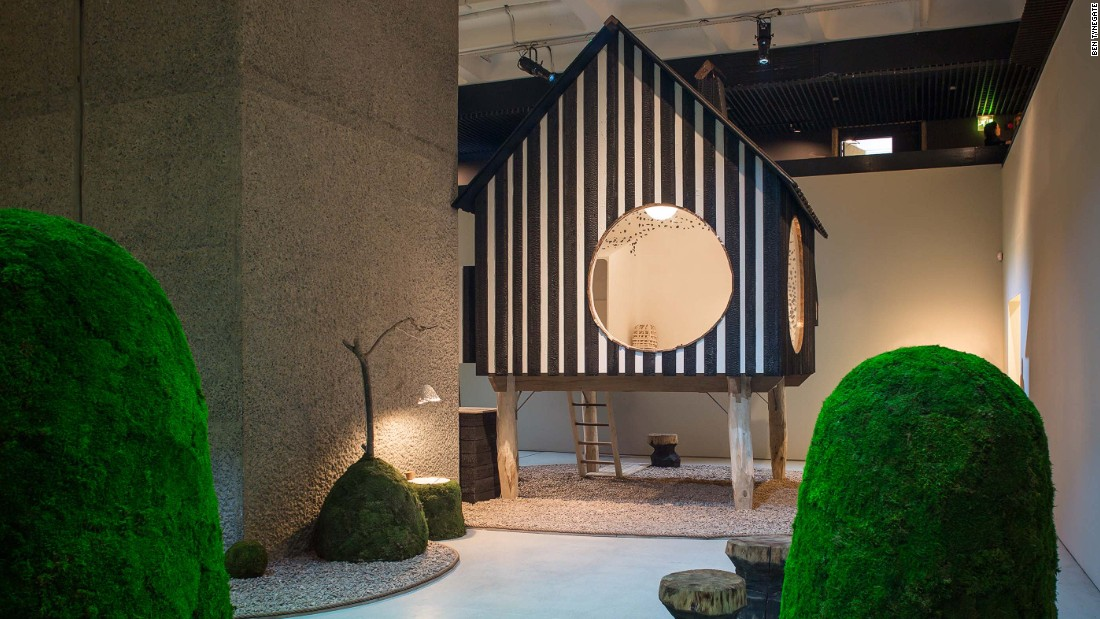 The Barbican Art Gallery show features two full-scale houses, including this teahouse by Terunobu Fujimori and accompanying garden. It will show the harmonious relationship between construction and the natural world in Japan.