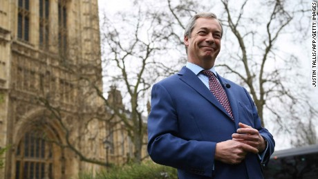 A jubilant Nigel Farage outside the Houses of Parliament in London.