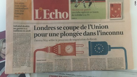 Front pages of European papers reacting to Article 50 being triggered