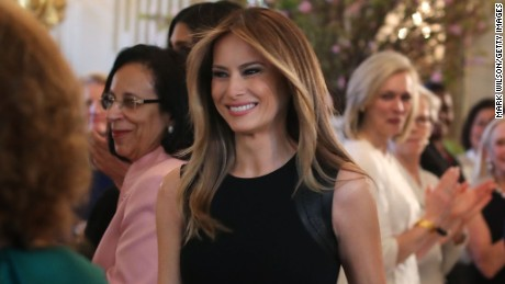 First lady Melania Trump arrives at a luncheon she was hosting to mark International Women's Day in the State Dining Room at the White House March 8, 2017 in Washington, DC.