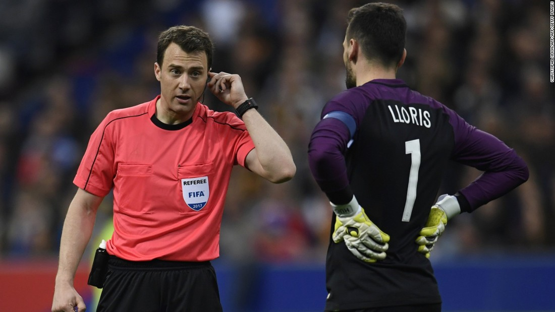 Referee Felix Swayer called upon video technology twice in Spain's 2-0 win over France.