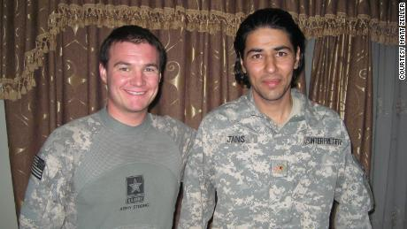 Matt Zeller with his Afghan interpreter Janis Shinwari in October 2008. Shinwari, who saved Zeller's life on the battlefield, was placed atop the Taliban's kill list but would have to fight for five years to secure a US visa.