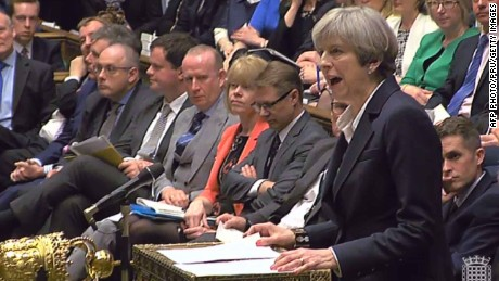 "A still image taken from footage broadcast by the UK Parliamentary Recording Unit (PRU) on March 29, 2017 shows British Prime Minister Theresa May at the dispatch box making a statement in the House of Commons in London after the letter invoking the provisions of Article 50 of the Lisbon Treaty was delivered to President of the European Council Donald Tusk in Brussels starting Britain's formal withdrawl from the European Union (EU).  Britain formally launches the process for leaving the European Union on March 29, 2017, a historic step that has divided the country and thrown into question the future of the European unity project. / AFP PHOTO / PRU AND AFP PHOTO / - / RESTRICTED TO EDITORIAL USE - MANDATORY CREDIT "" AFP PHOTO / PRU "" - NO USE FOR ENTERTAINMENT, SATIRICAL, MARKETING OR ADVERTISING CAMPAIGNS-/AFP/Getty Images"