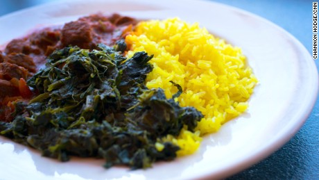 Nairobian beef with spinach and rice is one of Palace International's specialties.
