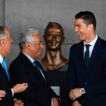 ronaldo reacts as President and prime minister unveil bust madeira airport