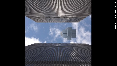 Rendering of Analemma passing above buildings in midtown Manhattan