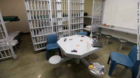 A view of a jail cell dorm where pay-to-stay program inmates can watch television, socialize and play games at the Seal Beach Detention center.