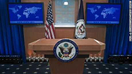 The podium-lectern area is seen November 26, 2013 in the State Department briefing room in Washington, DC. (Paul J. Richards/AFP/Getty Images)