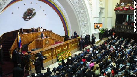 Venezuelan President Hugo Chavez speaks before the Parliament in Caracas on January 13, 2012  delivering his annual report about the actions and accomplishments of his government.  AFP PHOTO/Leo RAMIREZ (Photo credit should read LEO RAMIREZ/AFP/Getty Images)