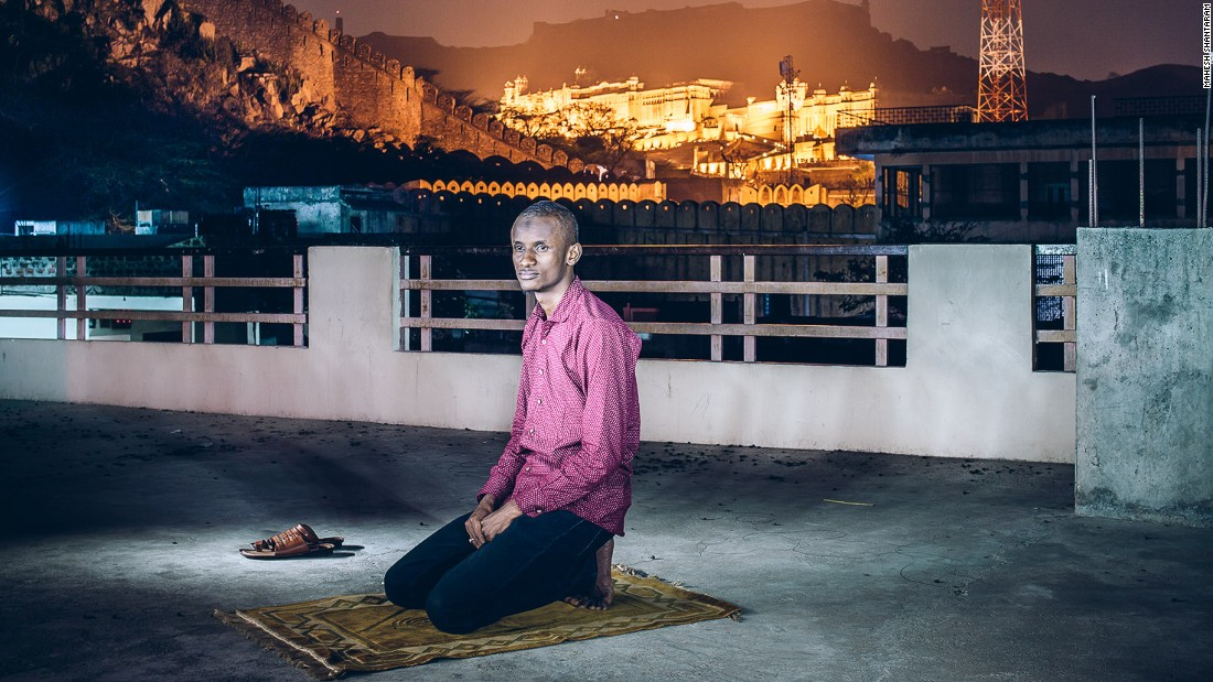 "He decided to start capturing the lives of Africans living in India in a bid to understand the racism they face.  ""Being a photographer, the only response I know how to have is to make photos,"" Shantaram told CNN. <br /><br />Pictured: Abdul Karim from Nigeria pursues a B.Sc in Information Technology from NIMS in Jaipur<br /><br />Photo courtesy of: Mahesh Shantaram"