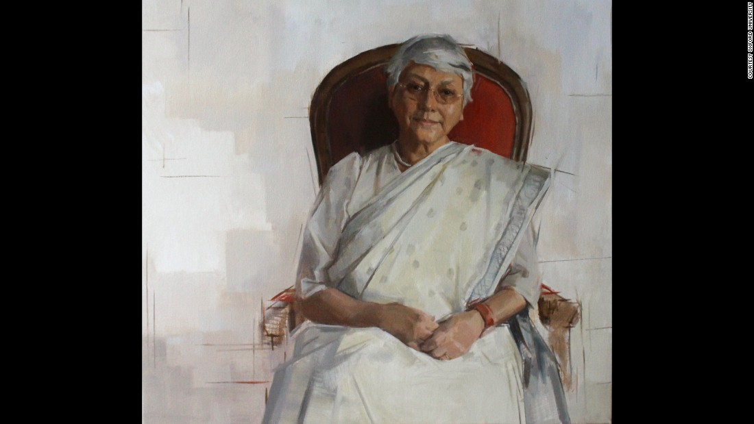 A new series of portraits celebrating women and ethnic minorities will soon adorn the walls of Oxford University. Aditi Lahiri is a linguistics scholar at Oxford and was painted by London-based artist Rosalie Watkins.
