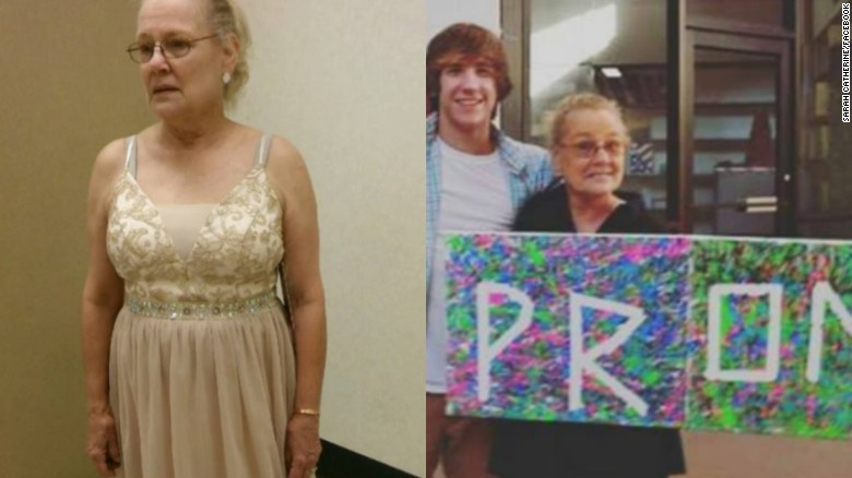 Catherine Maine had already bought a dress when her grandson was told he could not take her to prom.
