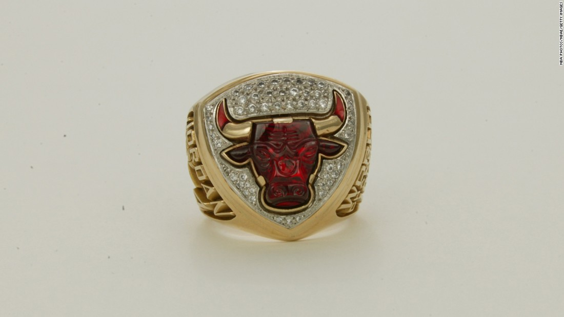 The Chicago Bulls' ring in 1993 featured a jewel-encrusted red bull. Note the name Jordan -- as in Bulls iconic guard Michael Jordan -- on the side of the ring.